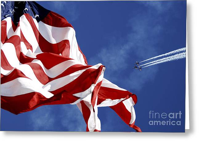 Stripes. Blowing Greeting Cards - The Blue Angels Performing At An Air Greeting Card by Stocktrek Images