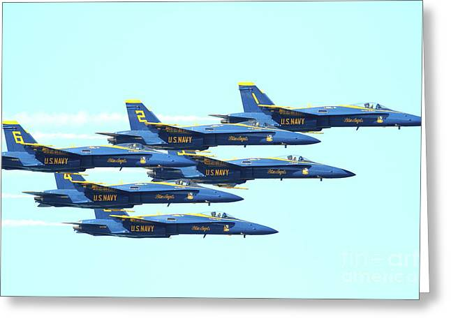 Jet Greeting Cards - The Blue Angels Team Greeting Card by Wingsdomain Art and Photography