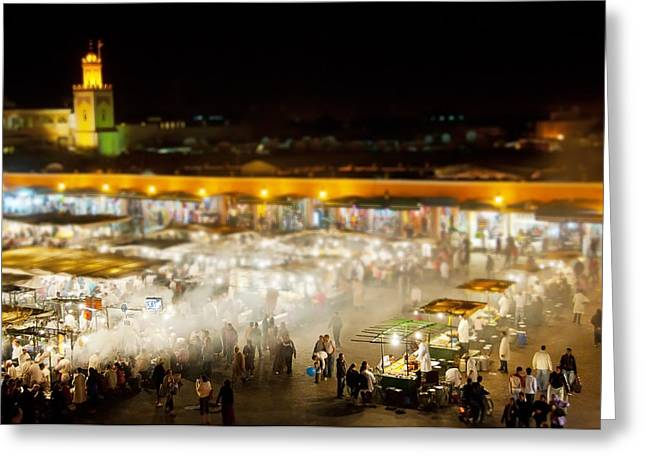 Food Stall Greeting Cards - The Blue Ball in the Square Marrakesh Greeting Card by Bronze Riser