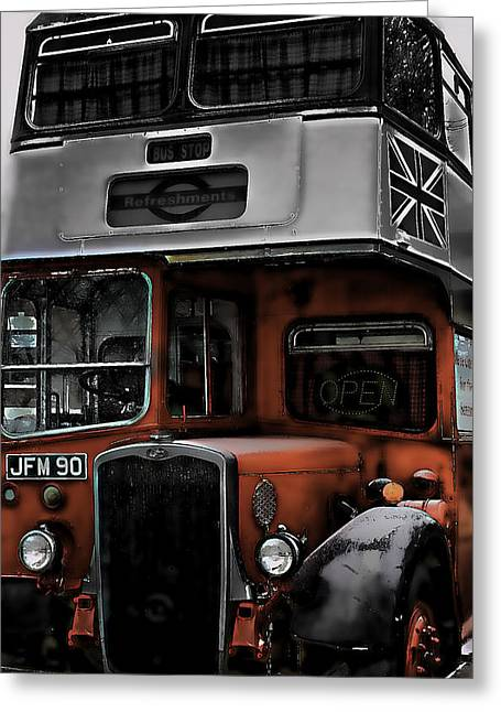 Edmonton Photographer Greeting Cards - The Blue Bus  Greeting Card by Jerry Cordeiro