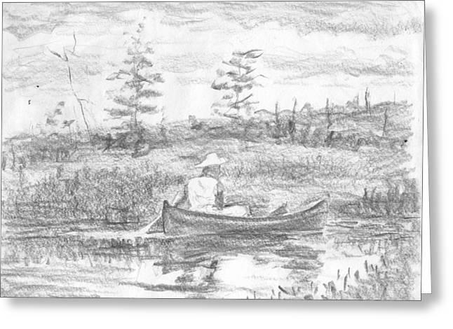 Canoe Drawings Greeting Cards - The blue canoe Greeting Card by Horacio Prada