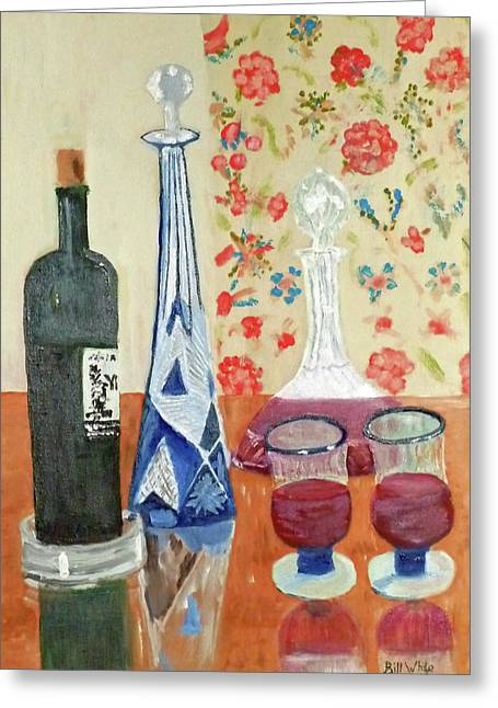 Decanters Paintings Greeting Cards - The Blue Decanter Greeting Card by Bill White