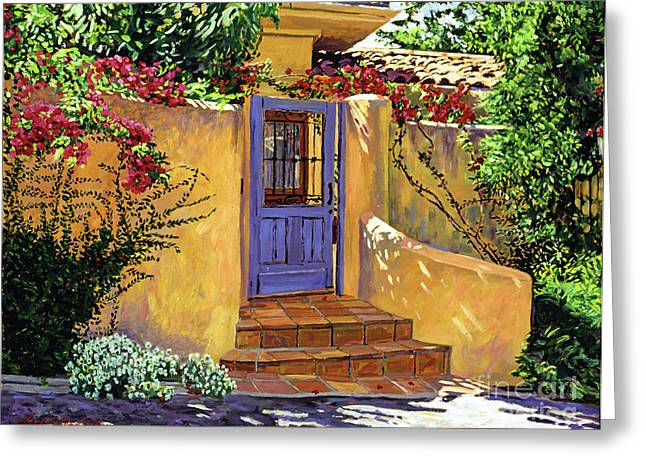 Patio Greeting Cards - The Blue Door Greeting Card by David Lloyd Glover