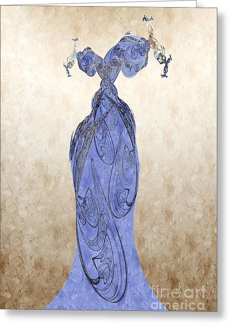 Formal Mixed Media Greeting Cards - The Blue Dress Greeting Card by Andee Design