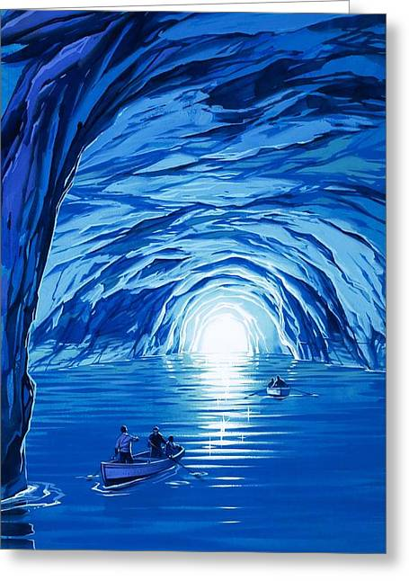 Boats In Water Greeting Cards - The Blue Grotto in Capri by McBride Angus  Greeting Card by Angus McBride