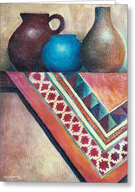 Water Jars Paintings Greeting Cards - The Blue Jar III Greeting Card by Jun Jamosmos
