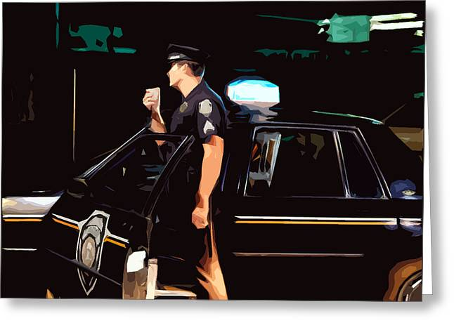 Police Cruiser Greeting Cards - The blue line Greeting Card by Robert Ponzoni