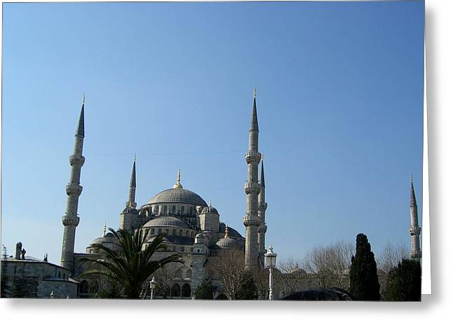 Istanbul Mixed Media Greeting Cards - The Blue Mosque Greeting Card by Sunaina Serna Ahluwalia