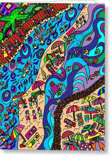 Karen Elzinga Mixed Media Greeting Cards - The blue ocean Greeting Card by Karen Elzinga