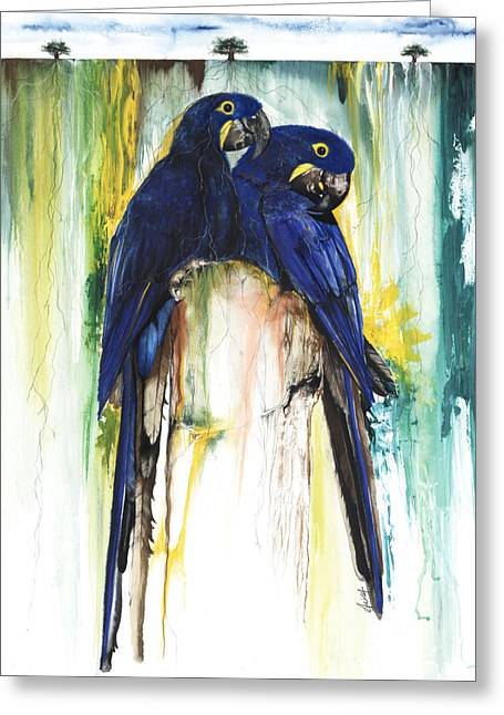 Roots Mixed Media Greeting Cards - The Blue Parrots Greeting Card by Anthony Burks Sr