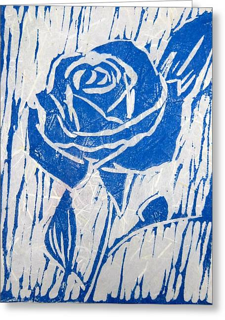 Linoleum Block Print Reliefs Greeting Cards - The Blue Rose Greeting Card by Marita McVeigh