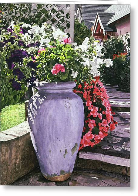 Carmel Greeting Cards - The Blue Urn Greeting Card by David Lloyd Glover