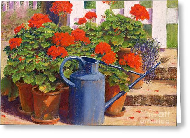 White Picket Fence Greeting Cards - The blue watering can Greeting Card by Anthony Rule