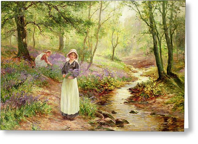 Dappled Sunlight Greeting Cards - The Bluebell Glade Greeting Card by Ernest Walbourn