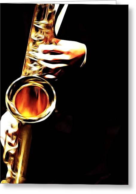 Saxaphone Greeting Cards - The Blues Greeting Card by Tilly Williams