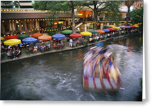 Del Rio Texas Greeting Cards - The Blur Of A Passing Tourist Boat Greeting Card by Stephen St. John