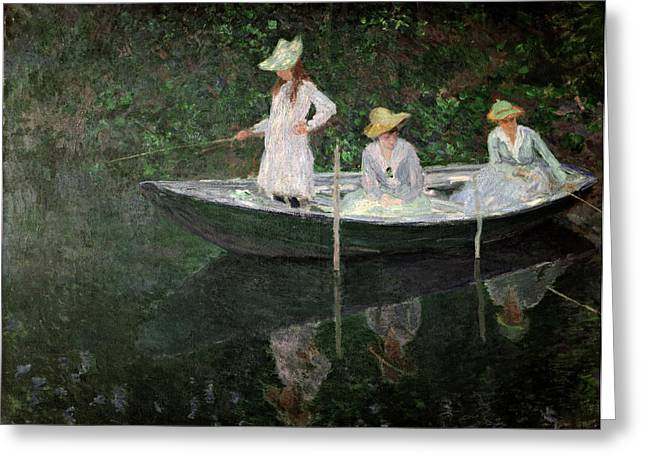 Fishing Boat Reflection Greeting Cards - The Boat at Giverny Greeting Card by Claude Monet