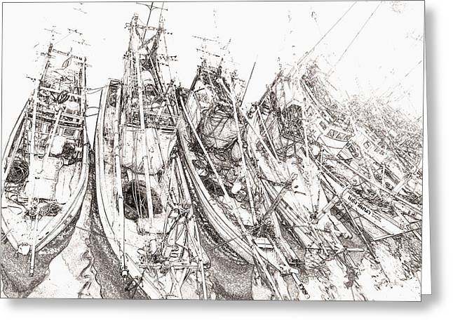Swooping Drawings Greeting Cards - The Boat Greeting Card by Chonakan Isarankura na ayudhya