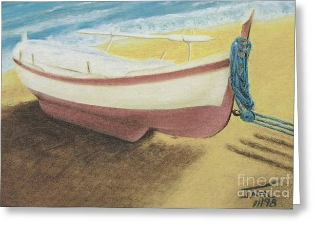 Fishing Boats Pastels Greeting Cards - The Boat Greeting Card by Jim Barber Hove