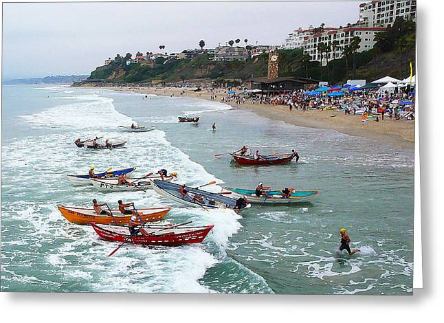 San Clemente Ocean Festival Greeting Cards - The Boat Race Greeting Card by Ron Regalado