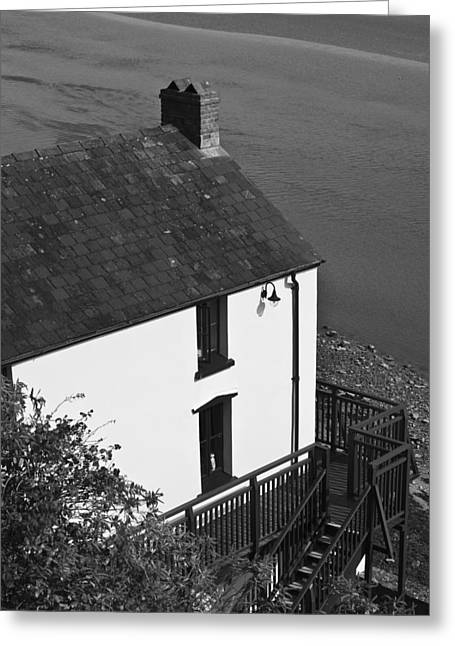 The Boathouse At Laugharne Mono Greeting Card by Steve Purnell