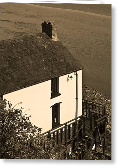 The Boathouse At Laugharne Sepia Greeting Card by Steve Purnell