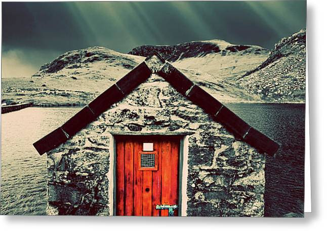 the boathouse Greeting Card by Meirion Matthias