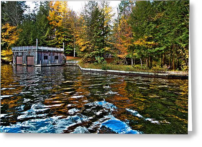The Boathouse On Arrowhead Park Waterway  Greeting Card by David Patterson