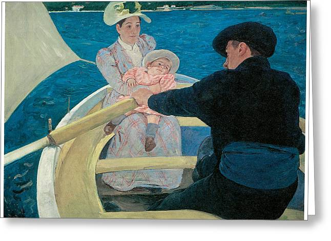 Mary Cassatt Greeting Cards - The Boating Party Greeting Card by Mary Cassatt