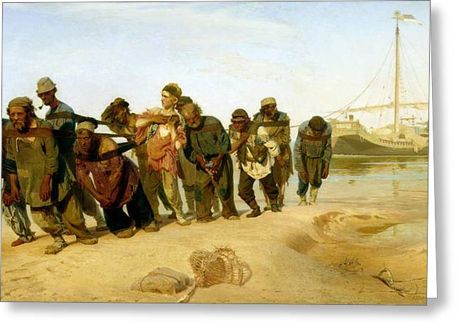 Knows Greeting Cards - The Boatmen on the Volga Greeting Card by Ilya Efimovich Repin