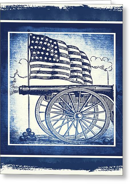 Patriotism Mixed Media Greeting Cards - The Bombs Bursting In Air Blue Greeting Card by Angelina Vick