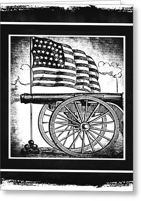 Patriotism Mixed Media Greeting Cards - The Bombs Bursting In Air BW Greeting Card by Angelina Vick
