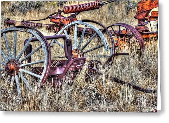 Wooden Wheels Greeting Cards - The Boneyard Greeting Card by Vikki Correll