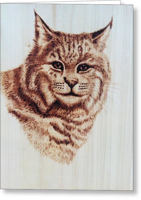 Bobcats Pyrography Greeting Cards - The Boss Greeting Card by Susan Rice