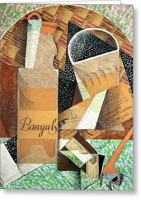 Cubist Paintings Greeting Cards - The Bottle of Banyuls Greeting Card by Juan Gris