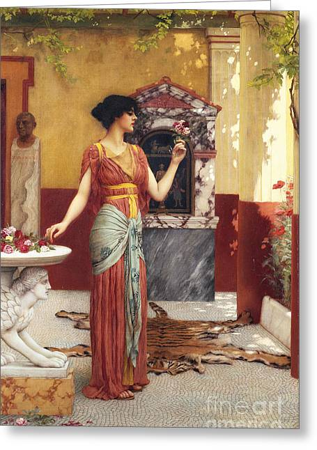 Neo Greeting Cards - The Bouquet Greeting Card by John William Godward