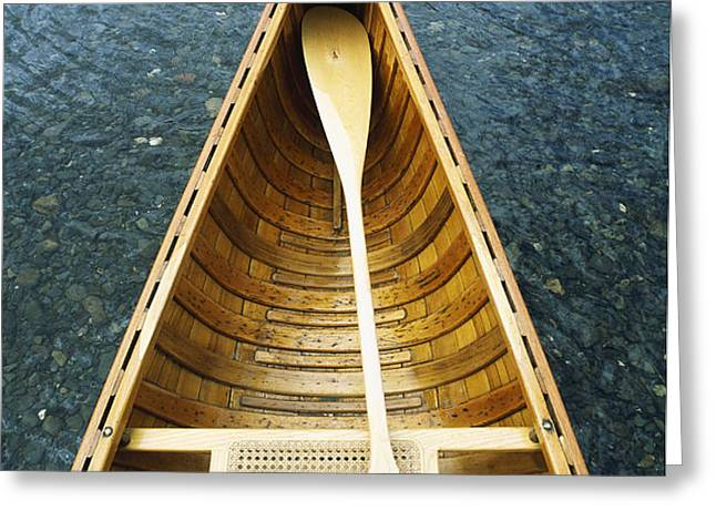The Bow And Oar Of A Handmade Wooden Greeting Card by Bill Curtsinger