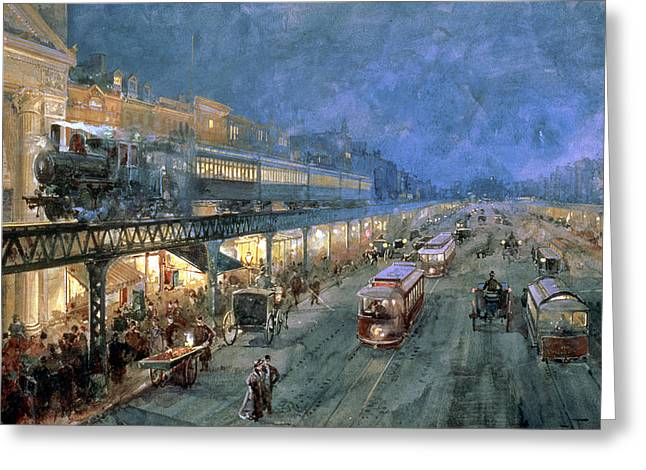 Trains Paintings Greeting Cards - The Bowery at Night Greeting Card by William Sonntag