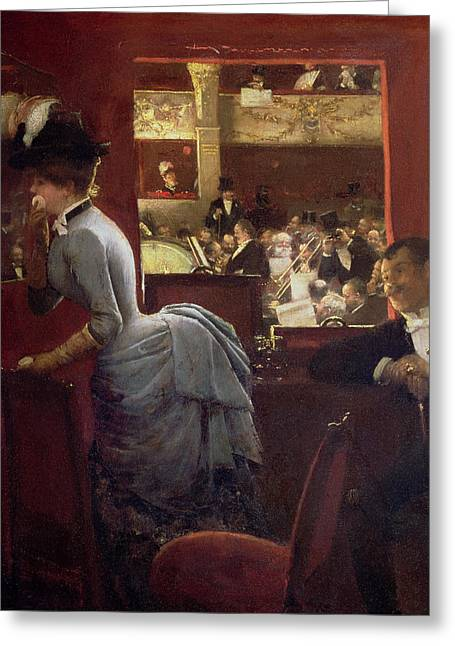 Black Tie Paintings Greeting Cards - The Box by the Stalls Greeting Card by Jean Beraud
