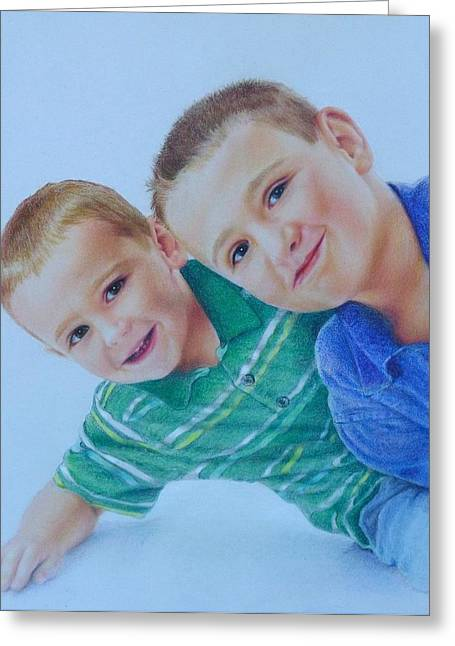 T Shirts Drawings Greeting Cards - The Boys Greeting Card by Kathy Dolan