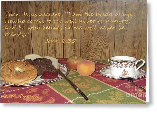 Saucer Peach Greeting Cards - The Bread Of Life Greeting Card by Donna Brown