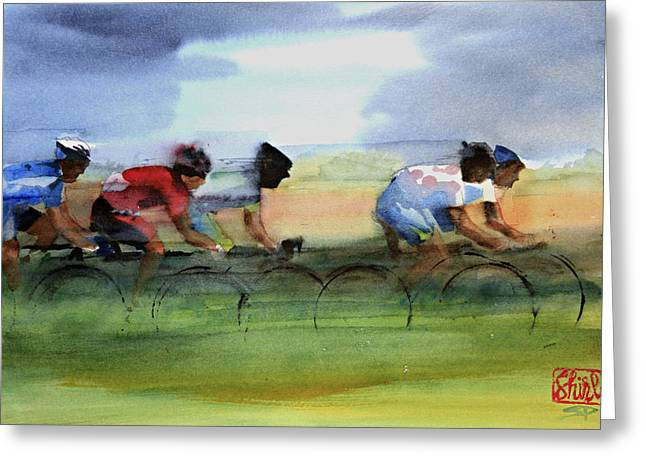 Fast Paintings Greeting Cards - The Breakaway Greeting Card by Shirley  Peters