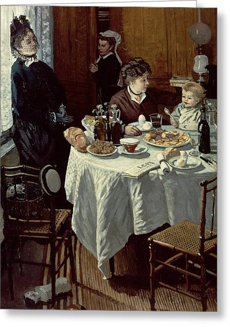 Interior Scene Greeting Cards - The Breakfast Greeting Card by Claude Monet