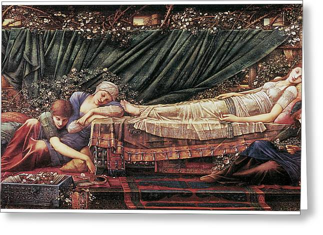 Lady Sleeping Greeting Cards - The Briar Rose The Rose Bower Greeting Card by Edward Burne-Jones