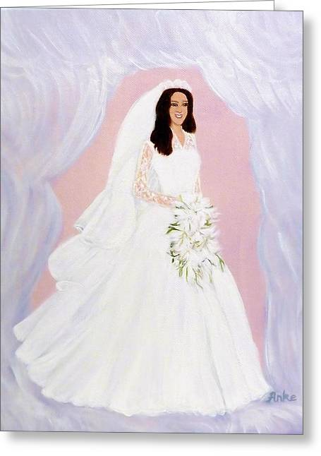 Femal Portrait Greeting Cards - The Bride Greeting Card by Anke Wheeler