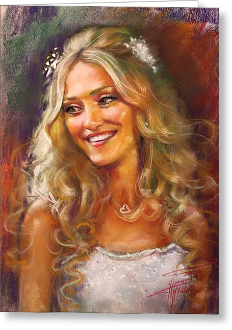 Pretty Pastels Greeting Cards - The Bride Greeting Card by Ylli Haruni