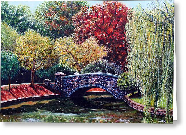 Charlotte Paintings Greeting Cards - The Bridge at Freedom Park Greeting Card by Jerry Kirk