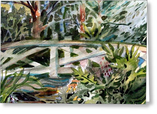 Water Garden Mixed Media Greeting Cards - The Bridge Greeting Card by Mindy Newman
