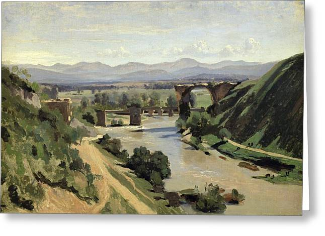 Augustus Greeting Cards - The Bridge of Augustus over the Nera Greeting Card by Jean Baptiste Camille Corot