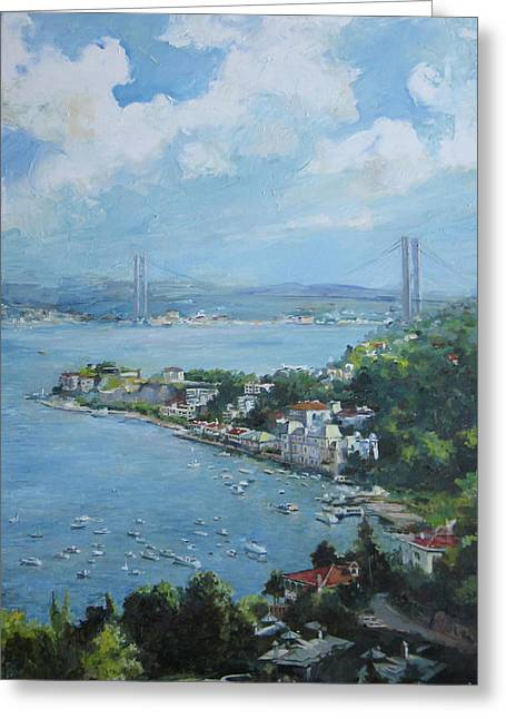 Seascape With Cloudy Sky Greeting Cards - The bridge over Bosphorus Greeting Card by Tigran Ghulyan